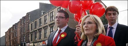 The Labour Party campaign searching Glasgow East for Labour voters.